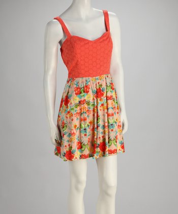 Light Coral Floral Sleeveless Dress