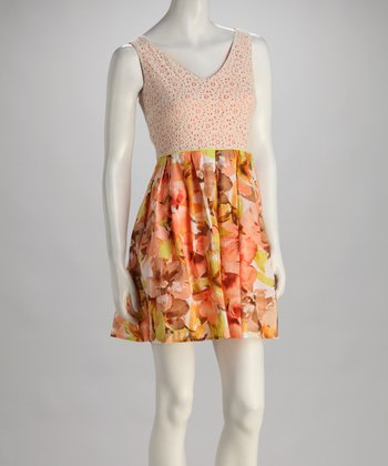 Peach Floral Sleeveless Dress