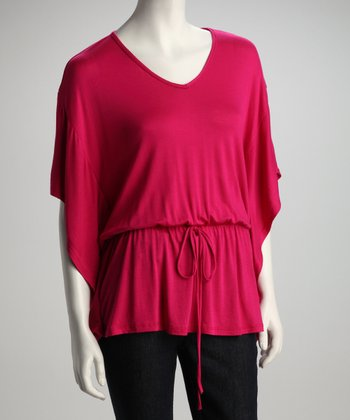 Fuchsia Cape-Sleeve Top