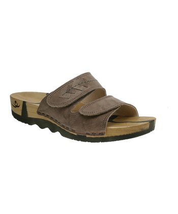 Taupe Leather Barbara Slide