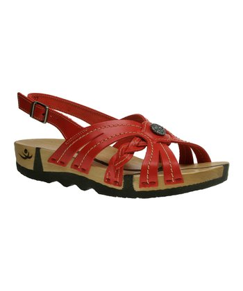 Red Leather Sofie Sandal