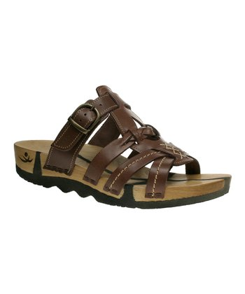 Brown Leather Katja Buckle Slide