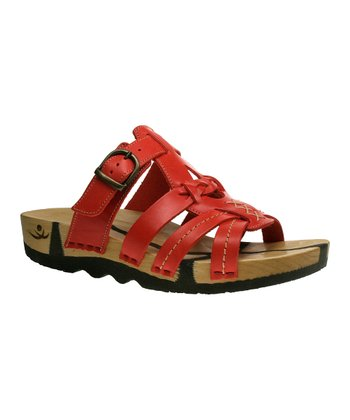 Red Leather Katja Buckle Slide