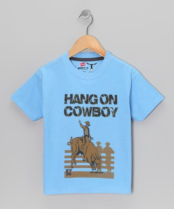 Baby Blue 'Hang On Cowboy' Tee - Toddler