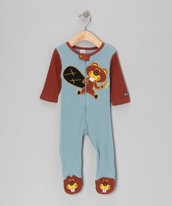 Blue & Brown Beaver Footie - Infant