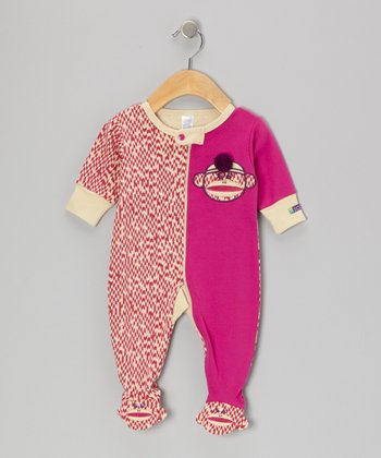 Pink Sock Monkey Footie - Infant