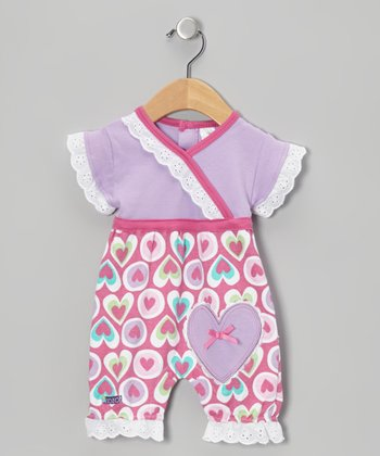 Purple & Pink Sweet Heart Romper - Infant