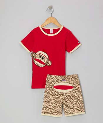 Red Sock Monkey Tee & Shorts - Toddler