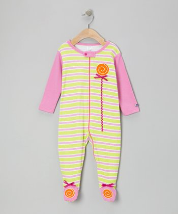 Pink & Green Lollipop Footie - Infant