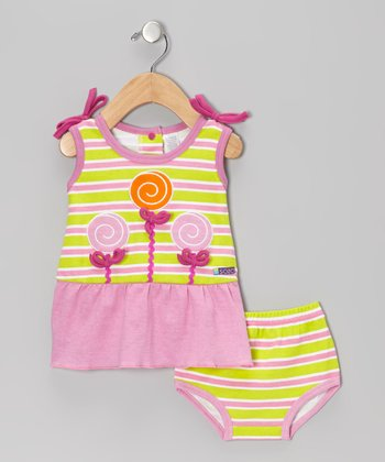 Green & Pink Sweet Shop Dress & Diaper Cover - Infant