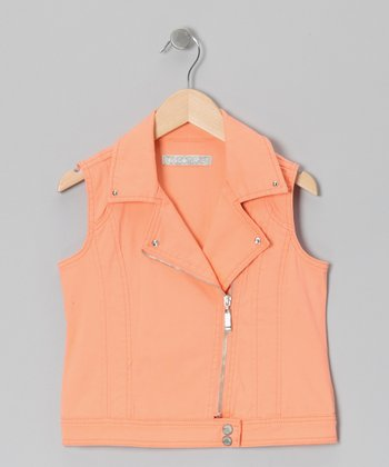 Orange Moto Zip-Up Vest - Toddler & Girls