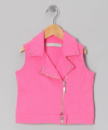 Pink Moto Zip-Up Vest - Toddler & Girls