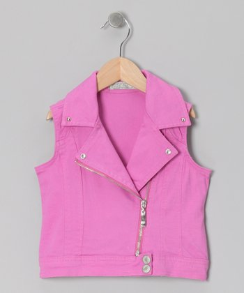 Purple Moto Zip-Up Vest - Toddler & Girls