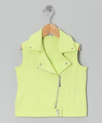 Yellow Moto Zip-Up Vest - Toddler & Girls