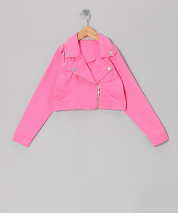 Pink Moto Zip-Up Jacket - Toddler & Girls