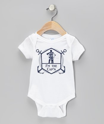 White 'I'm the Cap'n' Bodysuit - Infant