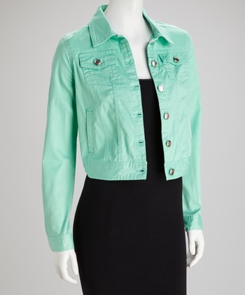 Mint Button-Up Denim Jacket