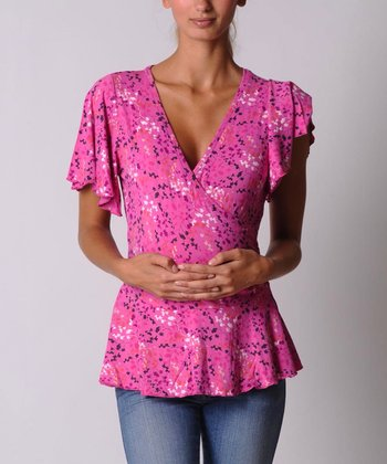 Pink Maternity & Nursing Wrap Top