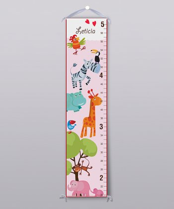 Pink Safari Animal Personalized Growth Chart