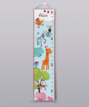 Blue Safari Animal Personalized Growth Chart