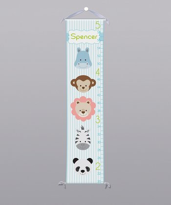 Blue Jungle Animals Personalized Growth Chart