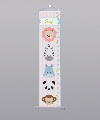 Pink Jungle Animals Personalized Growth Chart