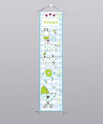 Blue Patchwork Animal Personalized Growth Chart