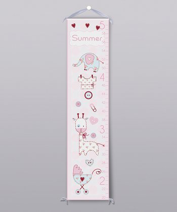 Pink Patchwork Animal Personalized Growth Chart