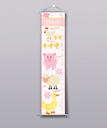Pink Farm Animal Personalized Growth Chart