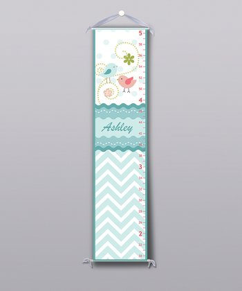 Blue Pretty Bird Personalized Growth Chart