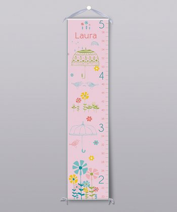 Pink Curious Bird Personalized Growth Chart