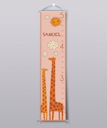 Orange Happy Giraffe Personalized Growth Chart