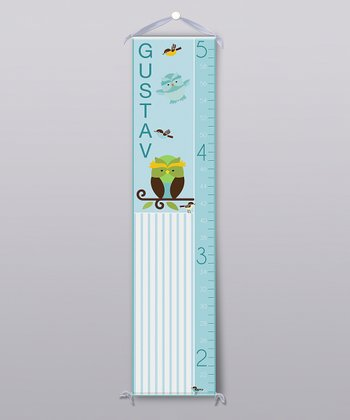 Blue Happy Owl Personalized Growth Chart