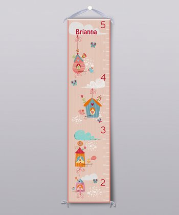 Peach Cute Bird House Personalized Growth Chart
