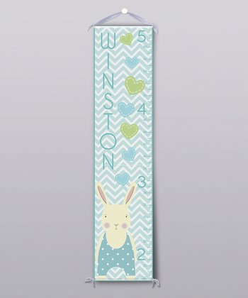 Blue Happy Bunny Personalized Growth Chart