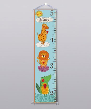 Blue Happy Jungle Animal Personalized Growth Chart