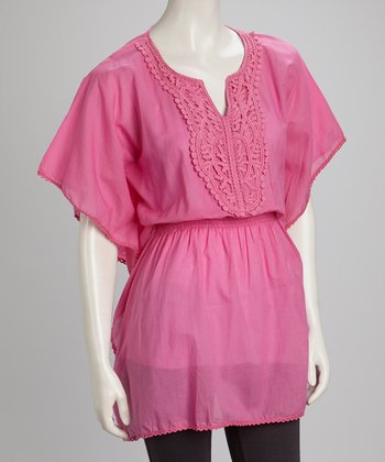Pink Cape-Sleeve Tunic