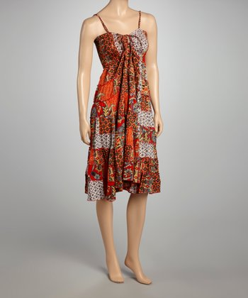 Red & Beige Patchwork Dress