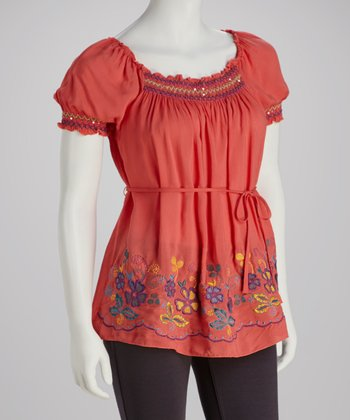 Coral Embroidered Peasant Top - Women