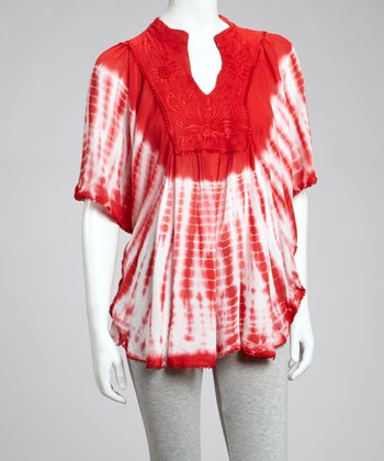 Red Tie-Dye Tunic - Women