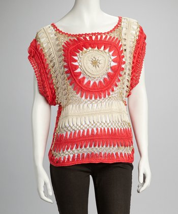 Coral & Gold Crocheted Top