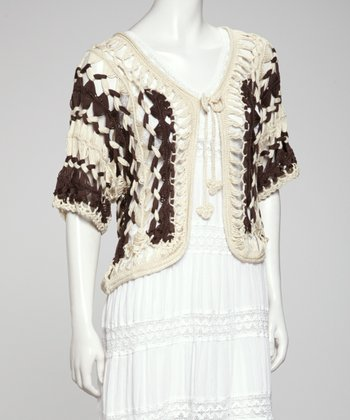 Beige & Brown Crocheted Cardigan
