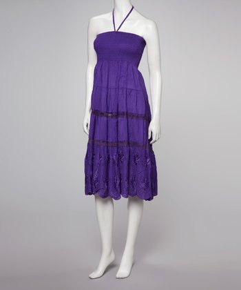 Purple Embroidered Convertible Dress