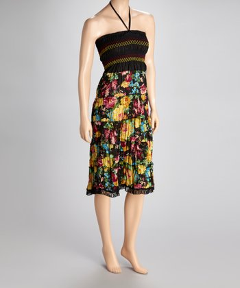 Black Floral Convertible Dress - Women