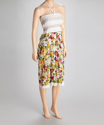 White Floral Convertible Dress - Women