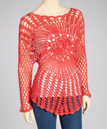 Coral Crocheted Long-Sleeve Top