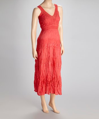 Coral Lace Eyelet Tier Dress