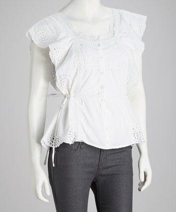 White Embroidered Lace Button-Up Top - Women
