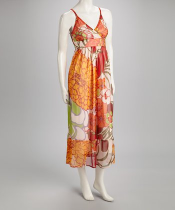 Peach & Green Floral Surplice Maxi Dress