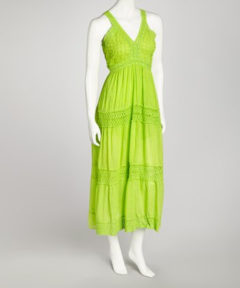 Green Crocheted Lace Maxi Dress - Women